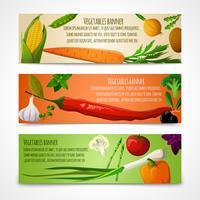 Bannières horizontales de légumes vecteur