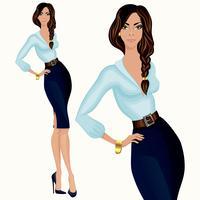 Femme d'affaires attrayant de style décontracté vecteur