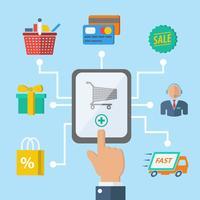 Concept de main shopping e-commerce vecteur