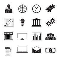 ensemble d'icônes génériques plat d'affaires