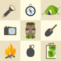 Ensemble d'icônes camping tourisme en plein air