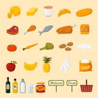 Icônes de sélection d'aliments de supermarché
