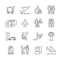 Ensemble d'icônes aéroport plat