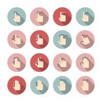 Jeu d'icônes de gestes tactiles à la main