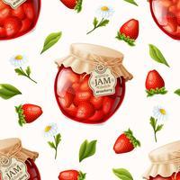Modèle sans couture de confiture de fraises