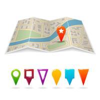 Carte de la ville avec des épingles