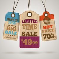 Étiquettes de promotion des ventes en carton vecteur