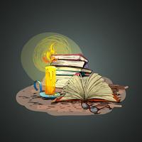 Livre de bougies doodle vecteur