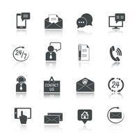 Contactez-nous Service Icons Set vecteur