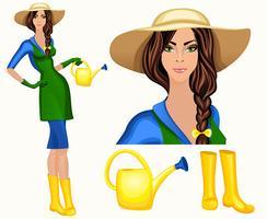 Jeune femme jardinier vecteur