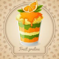 Badge praliné aux fruits vecteur