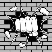 Le poing fermé frappe l'emblème du mur