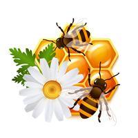 Emblème de fleurs d'abeilles en nid d'abeille