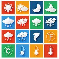 Ensemble d'icônes de prévisions météorologiques vecteur