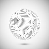 Emblème de globe de circuit imprimé vecteur