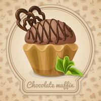Affiche muffin au chocolat vecteur