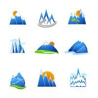 Jeu d'icônes de montagnes vecteur