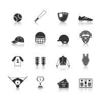 icônes de baseball mis en noir vecteur