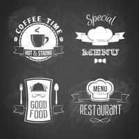 Ensemble d'emblèmes de menu de restaurant vecteur