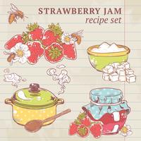 Ingrédients de la confiture de fraises vecteur