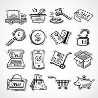Shopping e-commerce croquis icônes définies vecteur