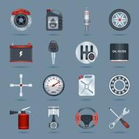 Icônes de pièces de voiture vecteur
