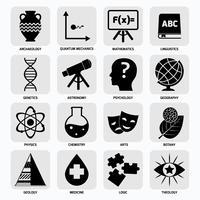 Icônes des domaines scientifiques noir vecteur