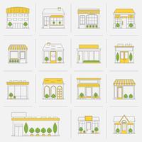 Ligne de construction d'icônes de bâtiment de magasin vecteur