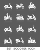 jeu d'icônes de scooter vecteur