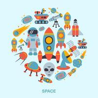 Icônes de l'espace à plat vecteur