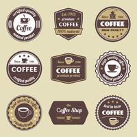 Jeu d'étiquettes de café