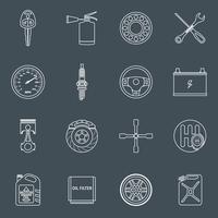 Contour d'icônes de pièces de voiture vecteur