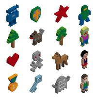 Caractères isométriques de pixels vecteur
