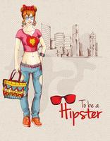Ville fille hipster vecteur