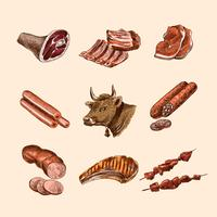 Croquis des icônes de viande vecteur