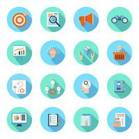 Marketers plats icônes définies