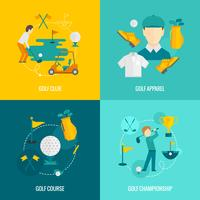 Icônes de golf à plat vecteur