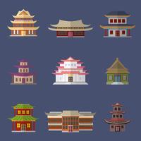 Icônes de la maison chinoise vecteur