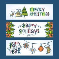 Bannières horizontales de Noël vecteur