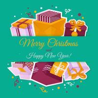 Carte de Noël avec des coffrets cadeaux vecteur
