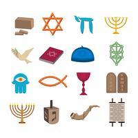 Jeu d'icônes de judaïsme vecteur