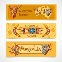 Australie esquisse des bannières horizontales vecteur