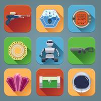icônes de jeu d'espace plat vecteur