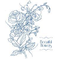 Croquis de fleurs vintage vecteur
