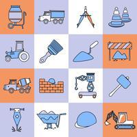Ligne de construction d'icônes de construction vecteur