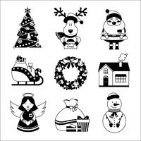 Icônes de Noël noir et blanc vecteur