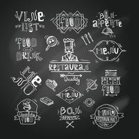 Tableau d'étiquette de restaurant vecteur