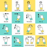 Ligne plate des gestes de l'interface tactile