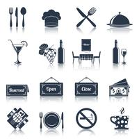 Icônes de restaurant définies en noir vecteur