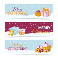 Bannières de boîte de cadeau de Noël vecteur